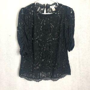 Sundance Women's Lace Blouse Black Top
